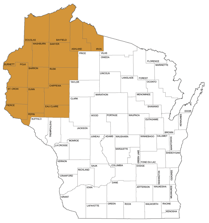 large map showing counties in Circuit Court Administrative District 10