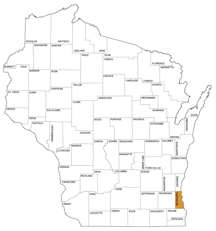 large map showing counties in Circuit Court Administrative District 1