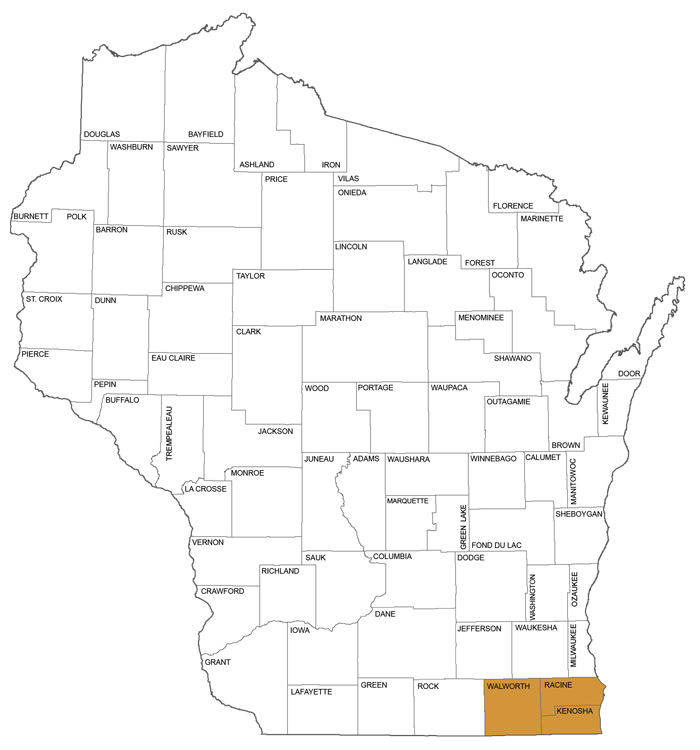 large map showing counties in Circuit Court Administrative District 2