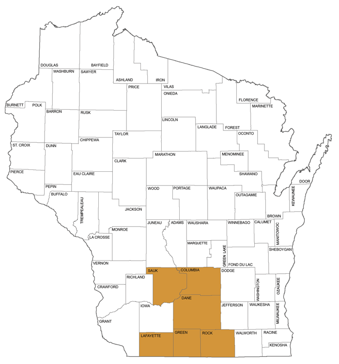 large map showing counties in Circuit Court Administrative District 5