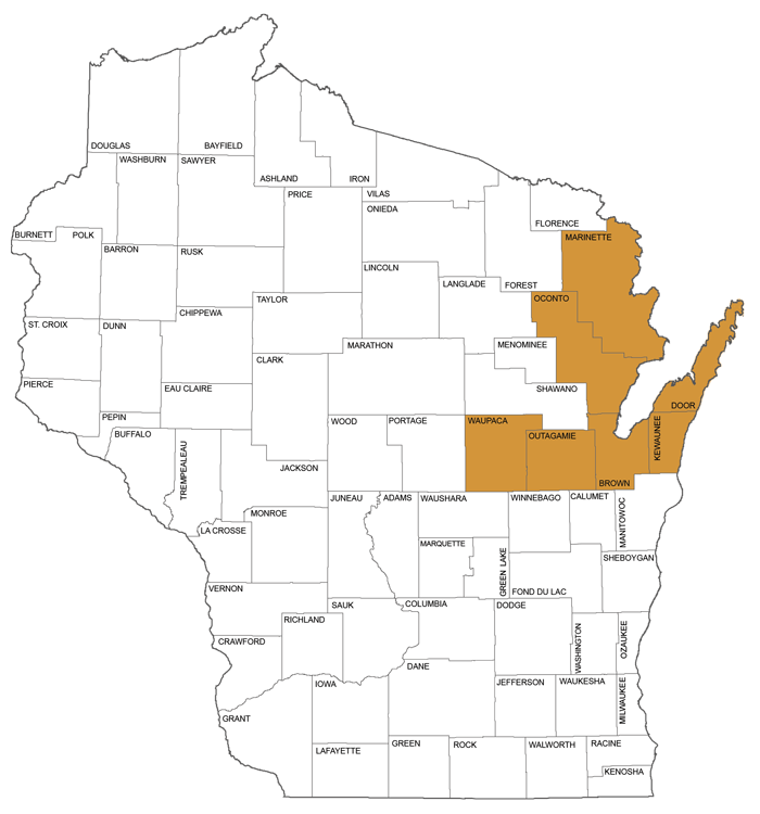 large map showing counties in Circuit Court Administrative District 8