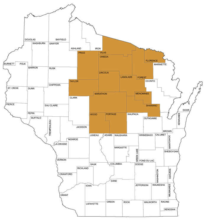 large map showing counties in Circuit Court Administrative District 9