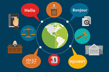 illustration with several court icons and word bubbles with 'hello' in different languages