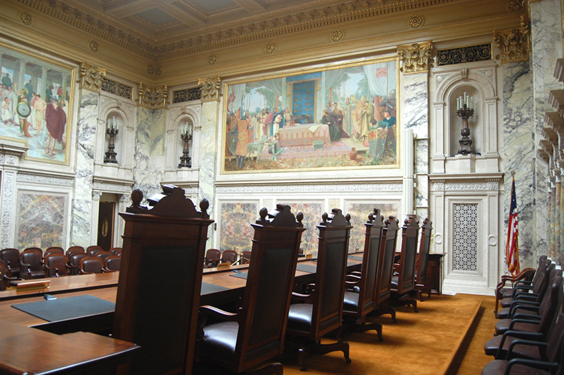 View of murals from the SC bench